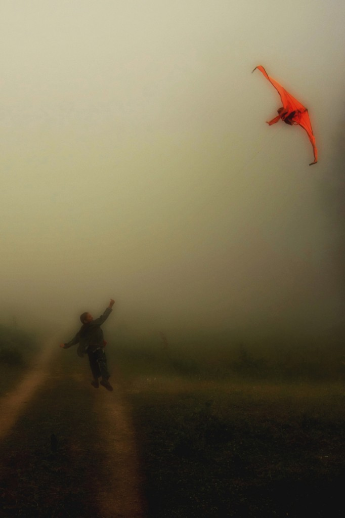 Flying a kite in the fog